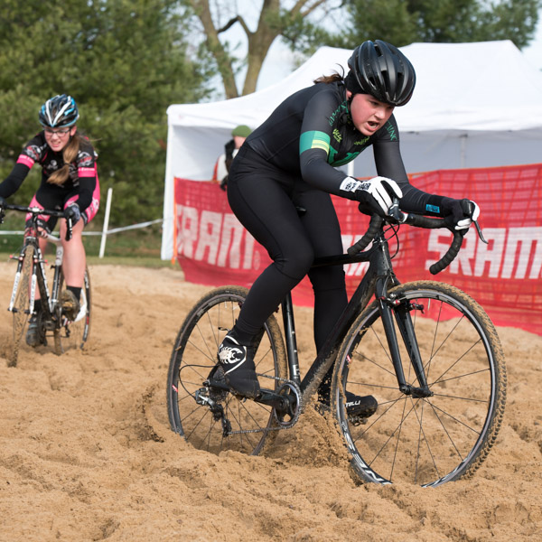 Junior women racing in the sandpit.